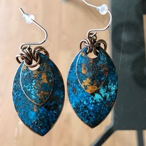 Beautiful turquoise and bronze earrings